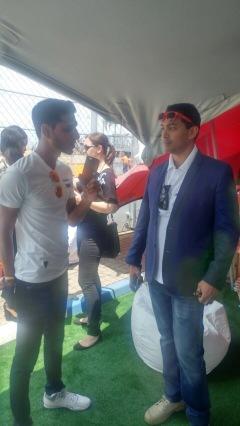 Yaasier Abrahams talking to Ahmed Kajee